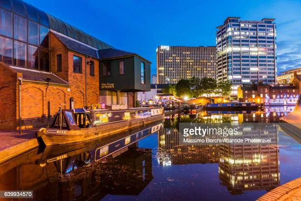 gas street basin area (a canal basin in the centre of the town), typical boat in a canal - canal stock pictures, royalty-free photos & images