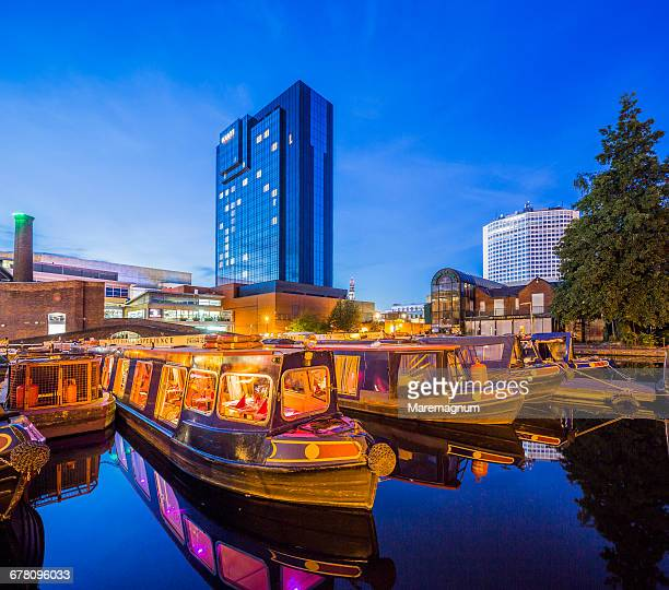 gas street basin area, typical boats in a canal - west midlands stock pictures, royalty-free photos & images