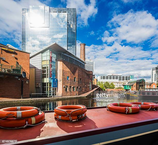 gas street basin area, view near a canal - birmingham england stock pictures, royalty-free photos & images