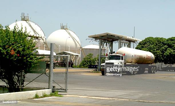 A gas truck fills up at a Petroleos de Venezuela depot at the PDVSA Jose Industrial and Petroleum complex in Anzoategui Venezuela August 24 2004