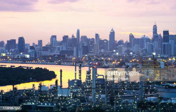 gas turbine electrical power plant with twilight - south east asia stock pictures, royalty-free photos & images