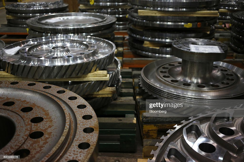 Gas turbine parts sit on the assembly line at the General Electric