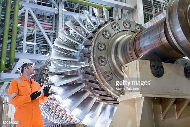 gas turbine under repair in gas-fired power station - タービン ストックフォトと画像