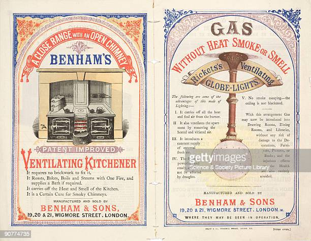 Gas without heat, smoke or smell�. A leaflet advertising ventilating globe lights and patent cooking apparatus by Benham & Sons, Wigmore Street,...