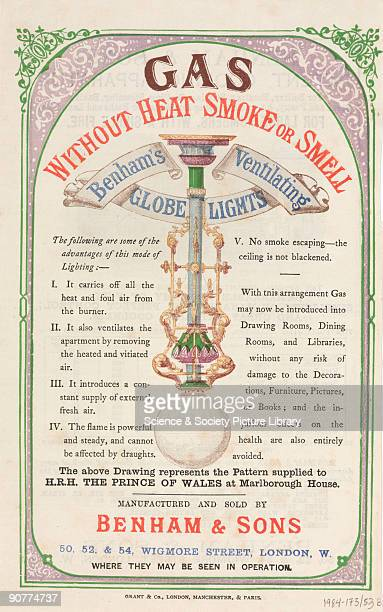 Gas without heat, smoke or smell�. A leaflet advertising ventilating globe lights by Benham & Sons, Wigmore Street, London. Taken from a collection...