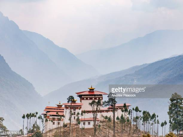 gasa monastery or dzong with valley background - bhutan stock pictures, royalty-free photos & images