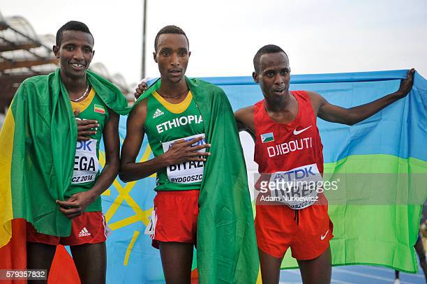 Gaseleon Barega from Ethiopia Wesley Ladema from Kenya and Djamal A Direh from Djibouti celebrate after men's 5000 metres during the IAAF World U20...
