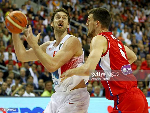Gasol of Spain is in action during the EuroBasket 2015 group B match between Spain and Serbia at MercedesBenz Arena in Berlin Germany on September 5...