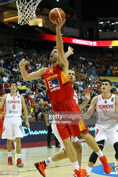 Gasol of Spain vies for the ball during the FIBA EuroBasket 2015 Group B basketball match between Turkey and Spain at Mercedes Benz Arena September 6...