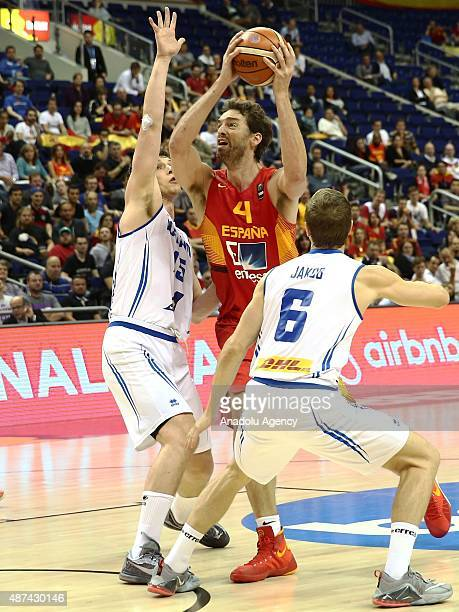 Gasol of Spain vies for the ball during the FIBA EuroBasket 2015 Group B basketball match between Iceland and Spain at Mercedes Benz Arena in Berlin...