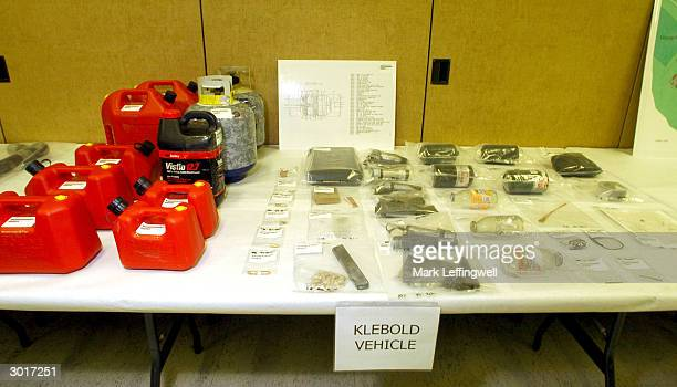 Gasoline canisters a propane tank bleach and homemade weapons collected from Dylan Klebold's vehicle are shown on display at the Jefferson County...
