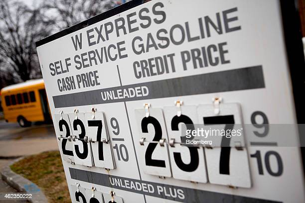 Gasoline prices are displayed at a Valero Energy Corp gas station in Washington DC US on Monday Jan 26 2015 Valero Energy Corp is expected to report...