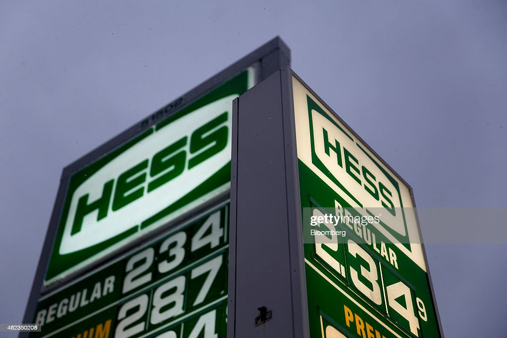 Gasoline prices are displayed on signs at a Hess Corp. gas station in Washington, D.C., U.S., on Monday, Jan. 26, 2015. Hess Corp. is expected to report fourth-quarter earnings figures on Jan. 28. Photographer: Andrew Harrer/Bloomberg via Getty Images