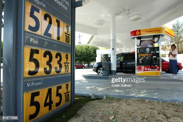 Gasoline prices over $500 per gallon are displayed at a Shell station June 23 2008 in San Mateo California Gasoline prices continue to rise as the...