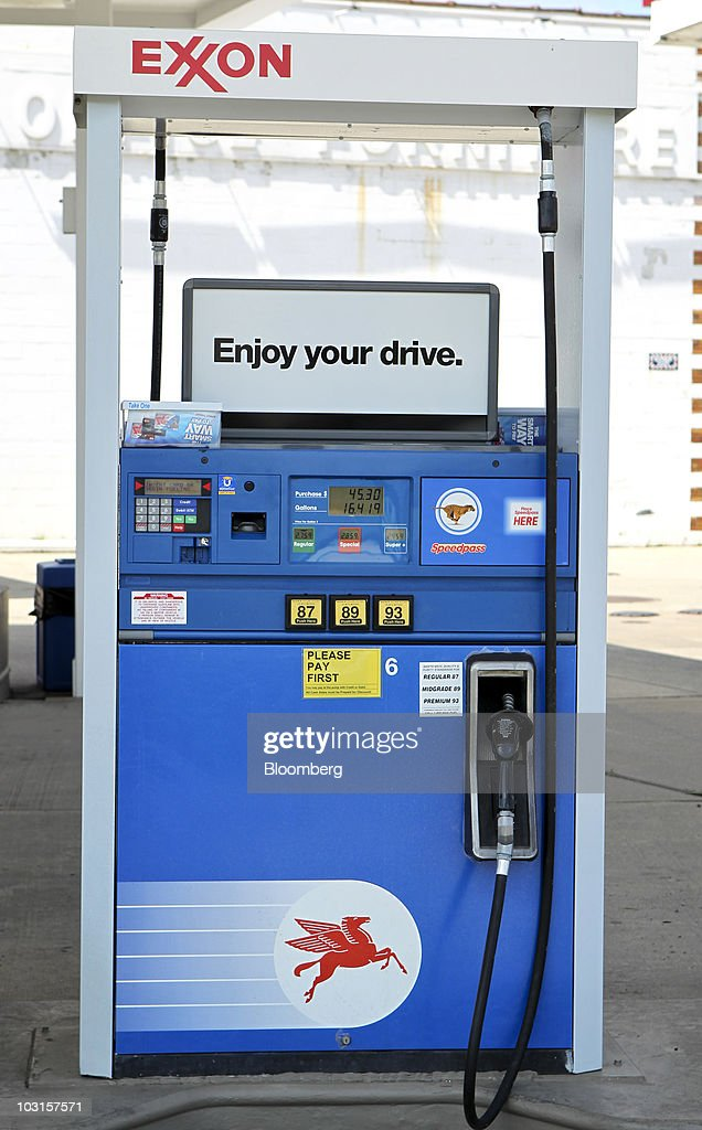 A gasoline pump stands at an Exxon gas station in Dearborn, Michigan