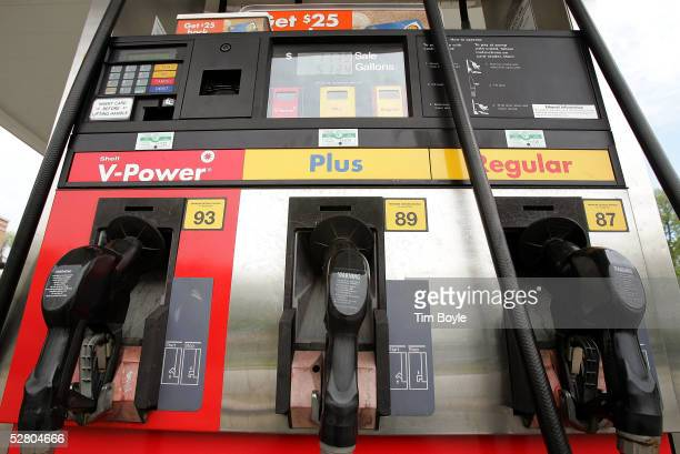 Gasoline pumps are seen a Shell filling station May 12, 2005 in Park Ridge, Illinois. For the first time in six weeks, average gasoline prices in the...