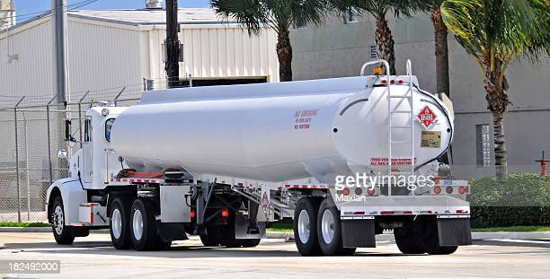Gasoline tanker driving on city street