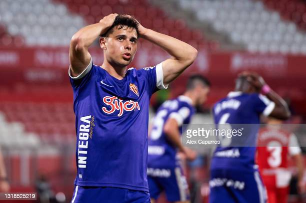 Gaspar Campos of Real Sporting reacts during the Liga Smartbank match betwen Girona FC and Real Sporting at Montilivi Stadium on May 17, 2021 in...