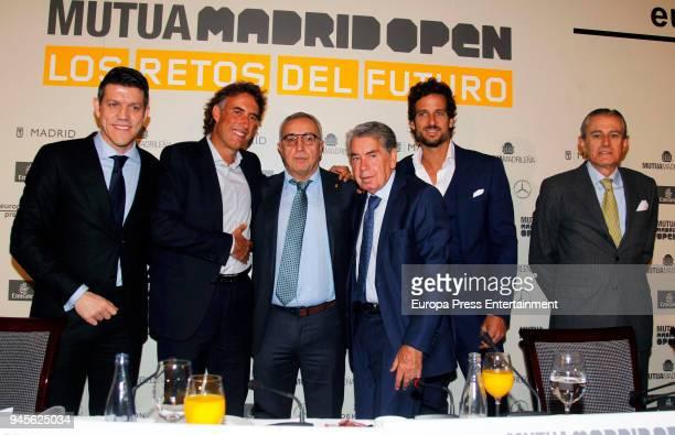 Gaspar Diez Gerard Tsobanian Alejandro Blanco Manolo Santana Feliciano Lopez and Asis Martin de Cabiedes attend the 'Mutua Madrid Open 'Los retos del...