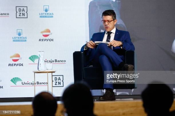 "Gaspar Diez, journalist, attends during the Europa Press interview ""Desayunos Deportivos Europa Press"" to Miguel Carballeda, President of the Spanish..."
