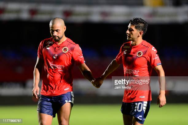 Gaspar Iniguez and Angel Reyna of Veracruz react during the 12th round match between Veracruz and Toluca as part of the Torneo Apertura 2019 Liga MX...