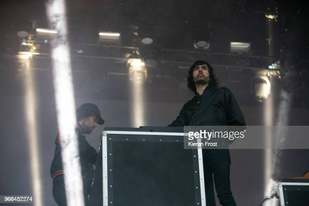 Gaspard Auge and Xavier de Rosnay of Justice performs at Forbidden Fruit Festival on June 2, 2018 in Dublin, Ireland.
