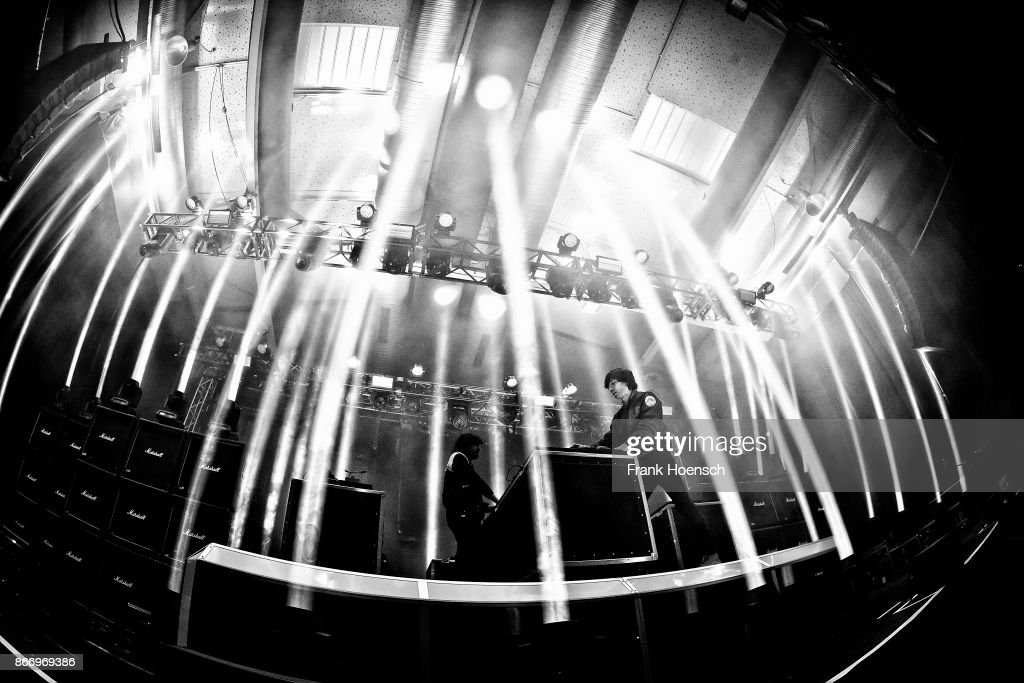 This image was shot with a fisheye lens.) (L-R) Gaspard Auge and Xavier de Rosnay of the French band Justice perform live on stage during a concert at the Columbiahalle on October 20, 2017 in Berlin, Germany.