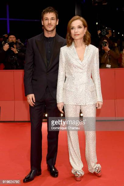 Gaspard Ulliel and Isabelle Huppert attend the 'Eva' premiere during the 68th Berlinale International Film Festival Berlin at Berlinale Palast on...