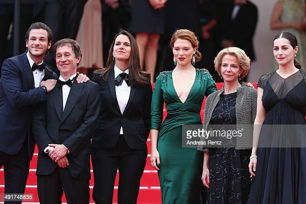 Gaspard Ulliel director Bertrand Bonello French Culture minister Aurelie Filippetti Lea Seydoux guest and Amira Casar attend the Saint Laurent...