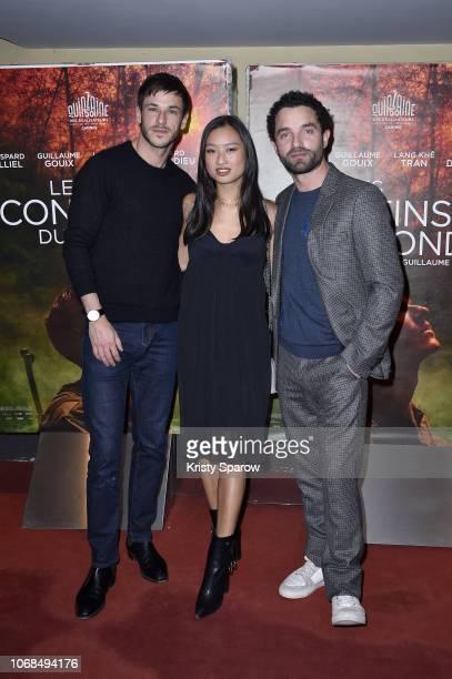 Gaspard Ulliel Lang Khe Tran and Guillaume Gouix attend the 'Les Confins Du Monde' Paris Premiere at UGC Cine Cite des Halles on December 4 2018 in...