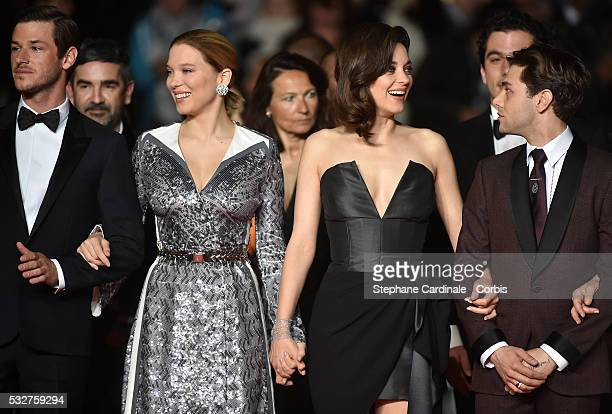 Gaspard Ulliel Lea Seydoux Marion Cotillard and Xavier Dolan attend the It's Only The End Of The World Premiere during the 69th annual Cannes Film...