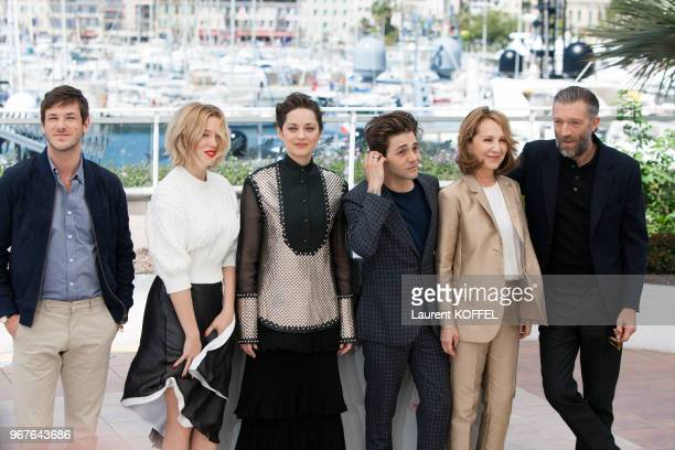 Gaspard Ulliel Lea Seydoux Marion Cotillard Xavier Dolan Nathalie Baye and Vincent Cassel attend the 'It's Only The End Of The World ' Photocall...