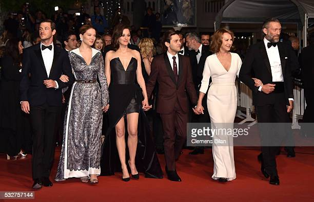 Gaspard Ulliel Lea Seydoux Xavier Dolan Marion Cotillard Nathalie Baye and Vincent Cassel attend the It's Only The End Of The World Premiere during...