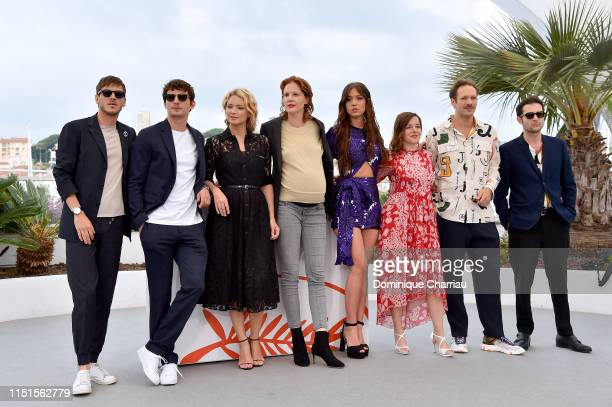 Gaspard Ulliel, Niels Schneider, Virginie Efira, Justine Triet, Adele Exarchopoulos, Laure Calamy, Paul Hamy and Arthur Harari attend the photocall...