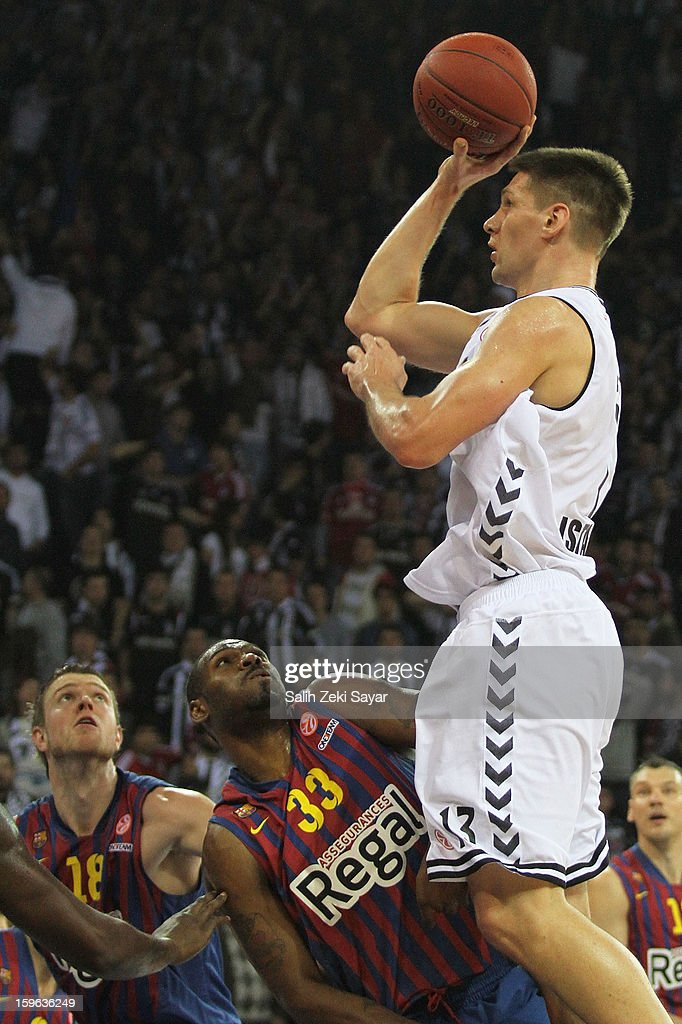 Gasper Vidmar #13 of Besiktas JK Istanbul in action during the 2012-2013 Turkish Airlines Euroleague Top 16 Date 4 between Besiktas JK Istanbul v FC Barcelona Regal at Abdi Ipekci Sports Arena on January 17, 2013 in Istanbul, Turkey.