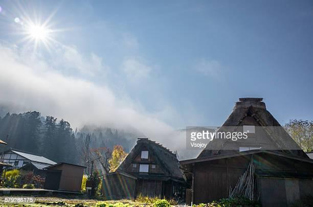 gassho-zukuri house at shirakawa-go - vsojoy stock pictures, royalty-free photos & images