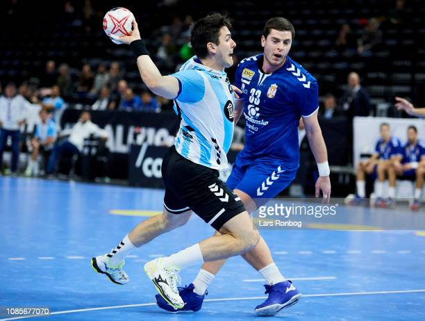 Gaston Alberto of Argentina in action during the IHF Men's Presidents Cup Handball match between Serbia and Argentina at Royal Arena on January 20...