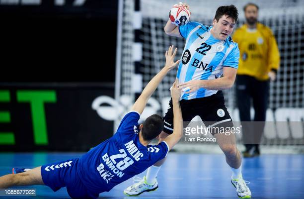 Gaston Alberto of Argentina MILIC Milan of Serbia in action during the IHF Men's Presidents Cup Handball match between Serbia and Argentina at Royal...