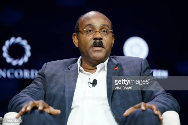 Gaston Browne, Prime Minister of Antigua & Barbuda, speaks onstage during the 2019 Concordia Annual Summit - Day 2 at Grand Hyatt New York on...