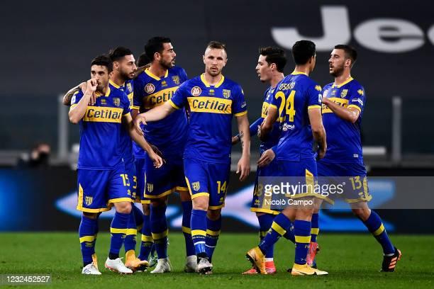 Gaston Brugman of Parma Calcio celebrates after scoring a goal during the Serie A football match between Juventus FC and Parma Calcio. Juventus FC...