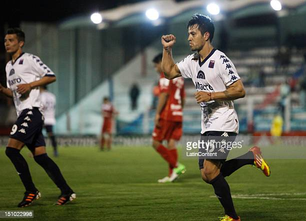 Gaston Diaz of Tigre celebrate a goal during the match between Tigre and Argentinos as part of the second stage of the Copa Sudamericana 2012 at...