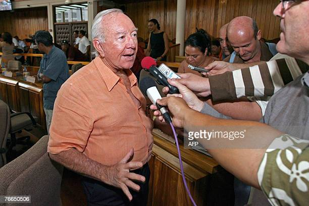 Gaston Flosse talks to the press at the assembly in Papeete 10 September 2007 The quorum was not reach for the election of President of French...