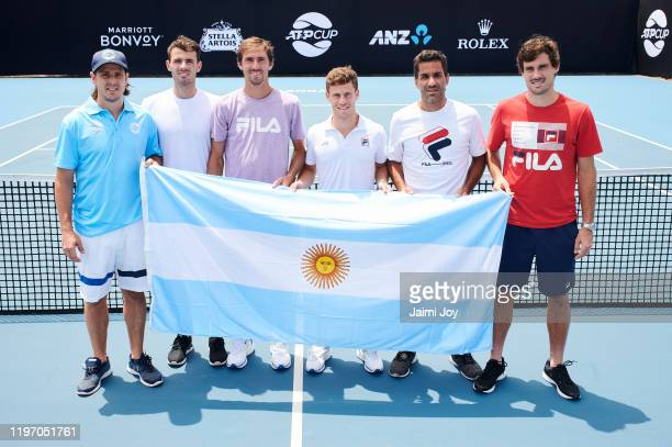 Gaston Gaudio, Juan Ignacio Londero, Andres Molteni, Diego Schwartzman, Maximo Gonzalez and Guido Pella of Argentina pose at ATP Cup media day ahead...