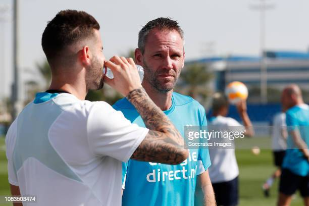 Gaston Pereiro of PSV Andre Ooijer of PSV during the Training Camp PSV in Qatar on January 6 2019 in Doha Qatar
