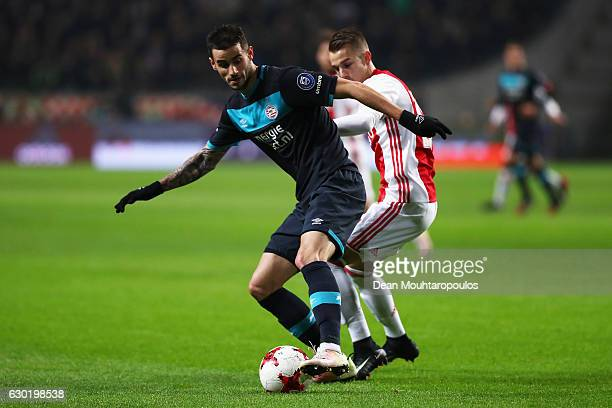 Gaston Pereiro of PSV battles for the ball with Vaclav Cerny of Ajax during the Eredivisie match between Ajax Amsterdam and PSV Eindhoven held at...