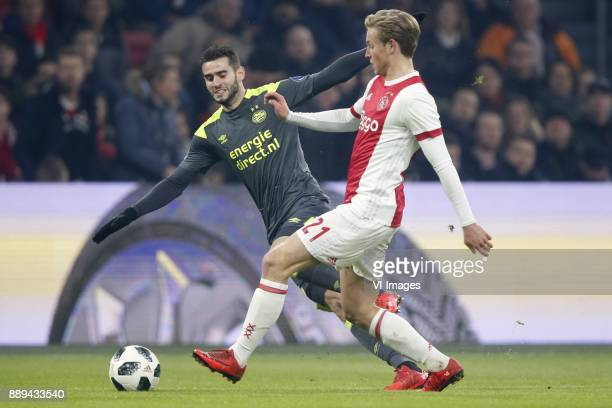 Gaston Pereiro of PSV Frenkie de Jong of Ajax during the Dutch Eredivisie match between Ajax Amsterdam and PSV Eindhoven at the Amsterdam Arena on...