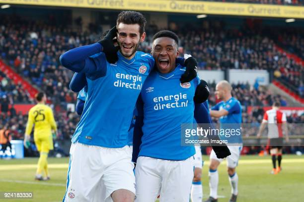 Gaston Pereiro of PSV Steven Bergwijn of PSV during the Dutch Eredivisie match between Feyenoord v PSV at the Stadium Feijenoord on February 25 2018...