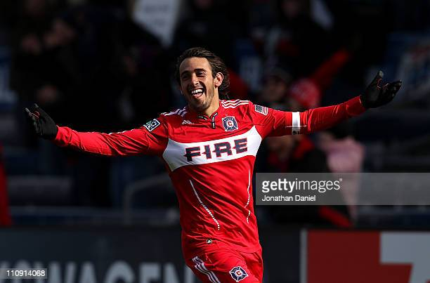 Gaston Puerari of the Chicago Fire celebrates a goal against Sporting Kansas City during an MLS match at Toyota Park on March 26 2010 in Bridgeview...