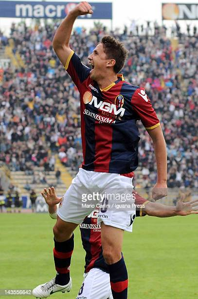 Gaston Ramirez of Bologna FC celebrates after scoring a goal during the Serie A match between Bologna FC and Genoa CFC at Stadio Renato Dall'Ara on...