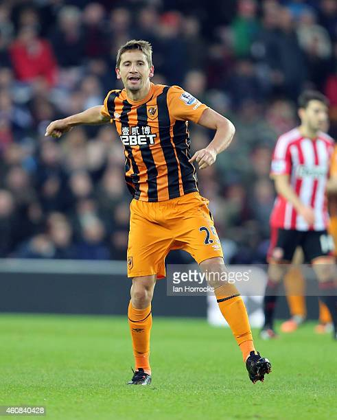 Gaston Ramirez of Hull City celebrates after he scored the first Hull goal during the Barclays Premier League match between Sunderland and Hull City...